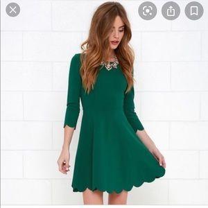 LULU'S scalloped hem green mini dress